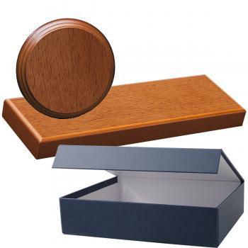 Cuña madera redonda roble avellana con base, serie 70860E-20820 (Frontal)