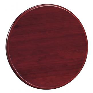 Placa de madera con forma Etimoe Caoba Apoyo metalico U, serie 50220 (Frontal)