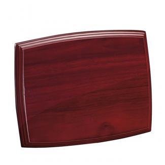Placa de madera con forma Etimoe Caoba Apoyo metalico U, serie 50290 (Frontal)