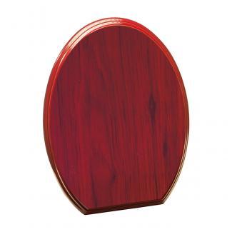 Placa de madera con forma Etimoe Caoba Apoyo metalico varilla, serie 50330 (Frontal)