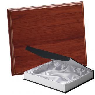 Placa de madera Etimoe Nogal Apoyo metalico U, serie 50450B (Frontal)