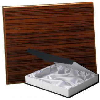 Placa de madera Zebrano Nogal Apoyo madera recto, serie 50570B (Frontal)