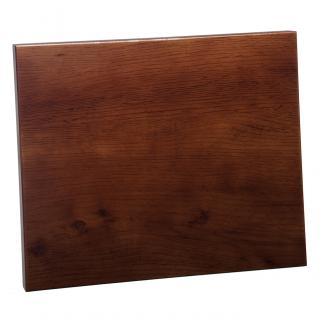 Placa de madera Roble Nogal Apoyo metalico U, serie 50810 (Frontal)
