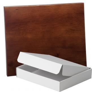Placa de madera Roble Nogal Apoyo metalico U, serie 50810A (Frontal)