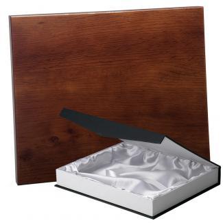 Placa de madera Roble Nogal Apoyo metalico U, serie 50810B (Frontal)