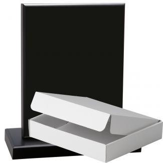 Cuña madera esquinas curvas negro con base, serie 70110A-20140 (Frontal)