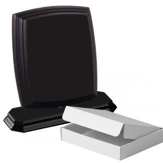 Cuña madera esquinas curvas negro con base, serie 70110A-20180 (Frontal)