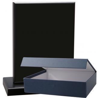 Cuña madera esquinas curvas negro con base, serie 70110E-20140 (Frontal)