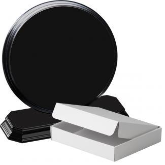 Cuña madera redonda negro con base, serie 70120A-20180 (Frontal)