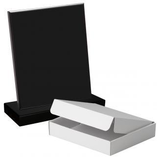 Cuña madera rectangular negro con base, serie 70140A-10120 (Frontal)