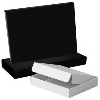 Cuña madera rectangular negro con base, serie 70150A-10120 (Frontal)