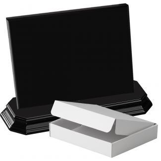 Cuña madera rectangular negro con base, serie 70150A-20180 (Frontal)