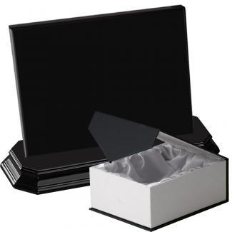 Cuña madera rectangular negro con base, serie 70150C-20180 (Frontal)