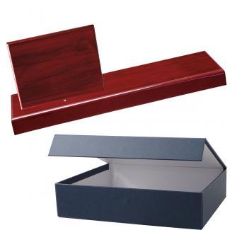 Cuña madera rectangular Caoba con base, serie 70240E-20300 (Frontal)