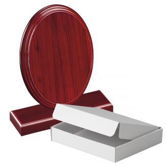 Cuña madera ovalada etimoe caoba con base, serie 70290A-10210 (Frontal)