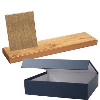 Cuña madera rectangular roble natural con base, serie 70820E-20810 (Frontal)