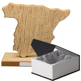 Mapa madera España roble natural con base (Frontal)