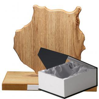 Mapa madera Gran Canaria roble natural con base (Frontal)