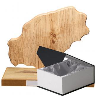 Mapa madera Ibiza roble natural con base (Frontal)