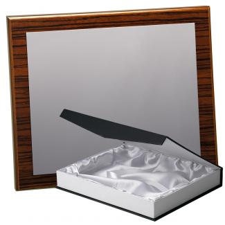 Kit placa de madera color zebrano nogal, aluminio y estuche lujo, serie P170B-50570 (Frontal)