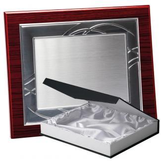 Kit placa de madera zebrano caoba, aluminio y estuche lujo, serie P180B-50360 (Frontal)