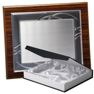 Kit placa de madera color zebrano nogal, aluminio y estuche lujo, serie P180B-50580 (Frontal)