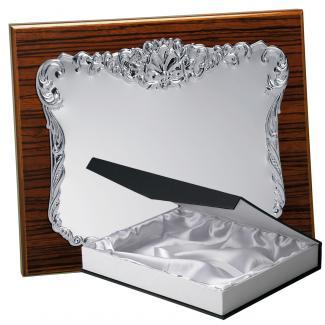 Kit placa de madera color zebrano nogal, aluminio y estuche lujo, serie P193B-50570 (Frontal)