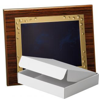 Kit placa de madera color zebrano nogal, aluminio y estuche sencillo, serie P210A-50580 (Frontal)